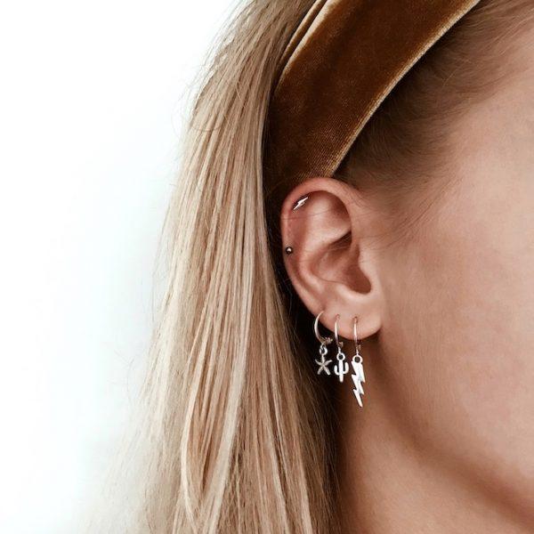 Earring lightning silver - Jewels by Moon