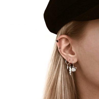 Piercing black bead silver - Jewels by Moon