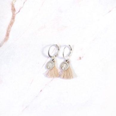Earring coin tassel silver - Jewels by Moon