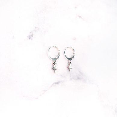 Earring cross silver - Jewels by Moon