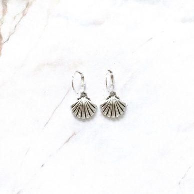 Earring shell big silver - Jewels by Moon