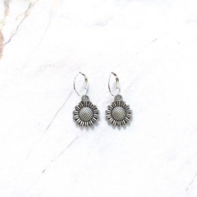Earring sunflower silver - Jewels by Moon
