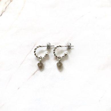 Twisted hoop heart silver - Jewels by Moon