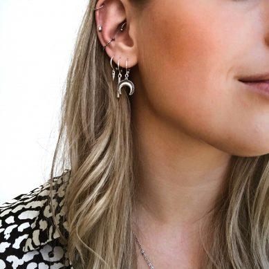 Piercing Zirconia bar barbell silver - Jewels by Moon