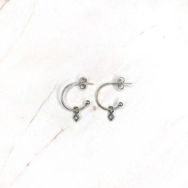 Hoop diamond crystal silver - Jewels by Moon