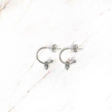 Hoop trinity crystal silver - Jewels by Moon